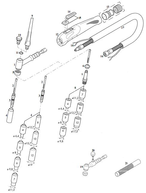Spare Parts Compatible For Tig Torch Binzel Type Sr26 26v